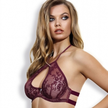 Unlined Bras Eden - Burgundy Lace Halter Unlined Bra