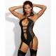 Fly High - Black Garter Bodysuit