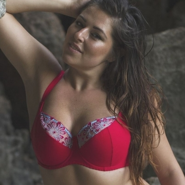 Bras  Maui - Red Plus Size Half Lined Bra