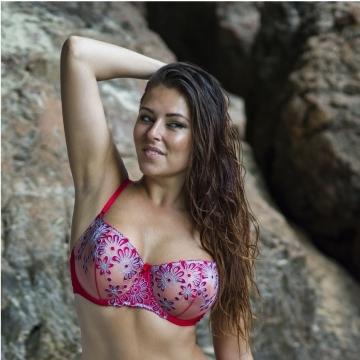 Sheer Bras Maui - Red Mesh Balconette Bra