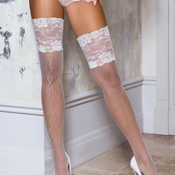 Custom Order Nightwear Vin Blanc - White Fishnet High Thighs