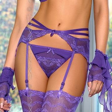 Custom Order Nightwear Safran - Purple Lace Garter Belt