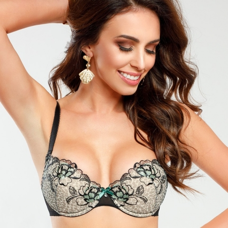 Java - Black and Green Push up Bra
