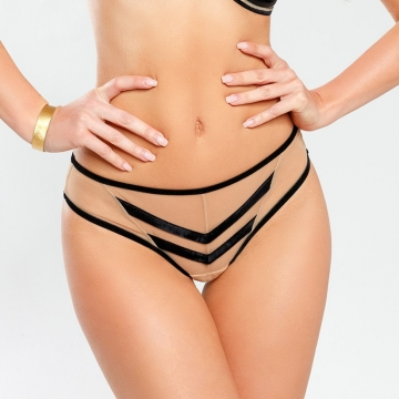 Bikini Panties Doll - Beige See Through Bikini Panties