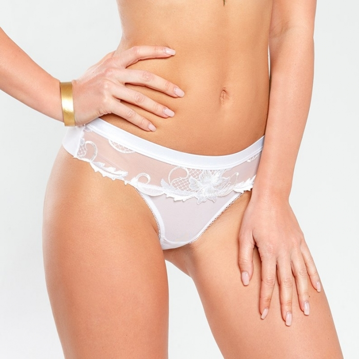 Saga - White Mesh Thongs