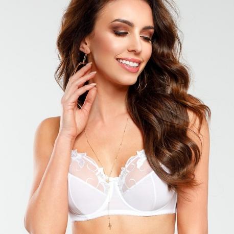 Saga - White Mesh Bra Plus Sizes
