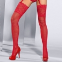 Seduce Me - Red Lace Fishnet Stay ups
