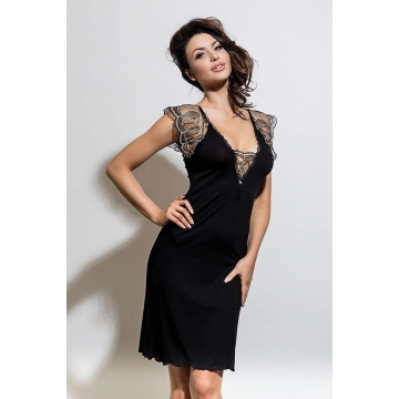 Leda - Black Lace Nightgown