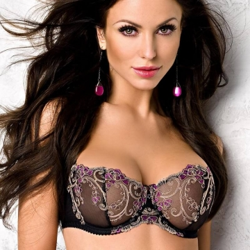 FRIDA Black and Purple Sheer Balconette Bra