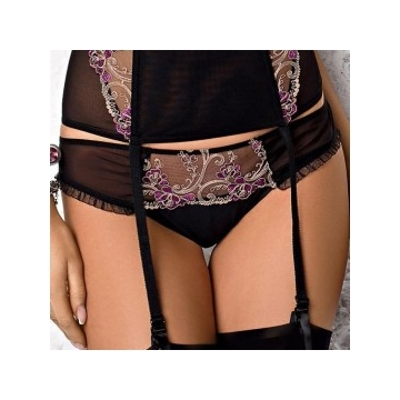 FRIDA Black and Purple Sheer Thongs
