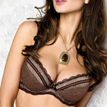 HENRIETTE Brown Lace and Satin Push up Bra
