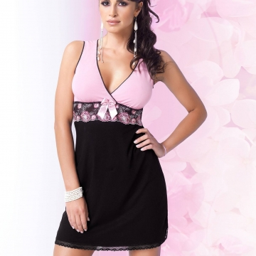 NINA Sleeveless Black and Pink Chemise