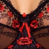 EMMANUELLE Unlined Full Cup Black and Red Sheer Bra