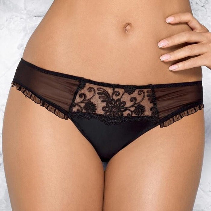 PAMELA Black Sheer Thongs