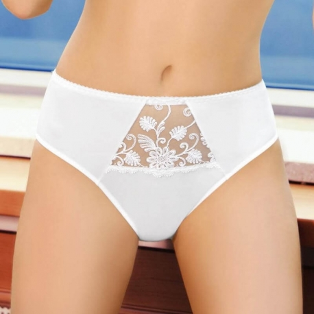 PAMELA White Sheer High Waist Briefs