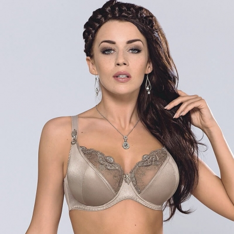 OLIVIA Golden Olive Sheer Full Coverage Bra