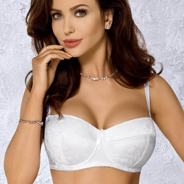 Christelle - Strapless White Push up Balconette Bra