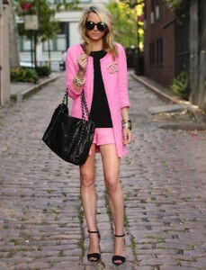 pink jacket and black top outfit
