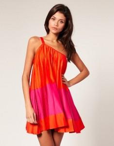 orange pink dress