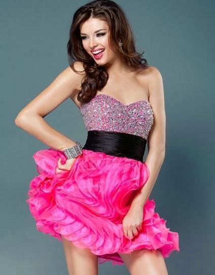 pink sequin bustier dress