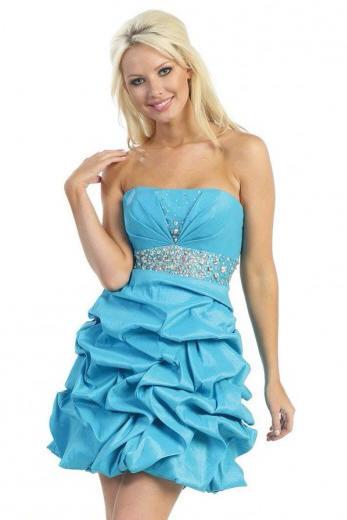 turquoise ruffle prom dress